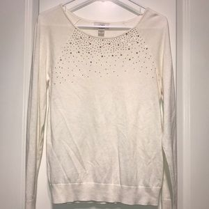 Ann Taylor Loft Embellished Cream Sweater